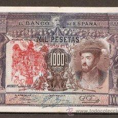 Reproducciones billetes y monedas: 1000 PESETAS 1925 RESELLO TAPON ROJO AGUILA IMPERIAL. Lote 113533202