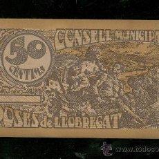 Reproducciones billetes y monedas: BILLETE CONSELL MUNICIPAL ROSES DE LLOBREGAT. 50 CENTIMS.. Lote 24564055