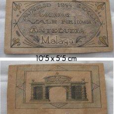 Reproducciones billetes y monedas: VALE AUXILIO SOCIAL ANTEQUERA MALAGA 1944. Lote 25454660