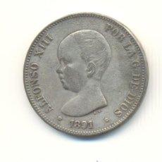 Reproducciones billetes y monedas: 23- BONITAS CINCO PESETAS AÑO 1891 ALFONSO XIII FALSAS DE EPOCA. Lote 26066238