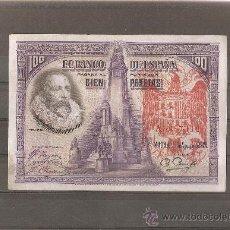 Reproducciones billetes y monedas: 100 PESETAS 1928 RESELLO TAPON ROJO AGUILA IMPERIAL. Lote 297115108