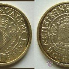 Reproducciones billetes y monedas: REPRODUCCION DE LA FNMT BAÑO DE ORO. Lote 26810209