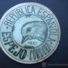 Reproducciones billetes y monedas: CARTÓN MONEDA LOCAL DE ESPEJO (CÓRDOBA) -TIMBRE MÓVIL-, CON SELLO 20 CTS II REPÚB. MBC+. 1937.. Lote 28134885
