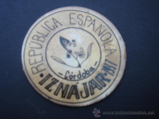 CARTÓN MONEDA LOCAL DE IZNÁJAR (CÓRDOBA) -TIMBRE MÓVIL-, CON SELLO 40 CTS II REPÚB. MBC+. 1937. (Numismática - Reproducciones)