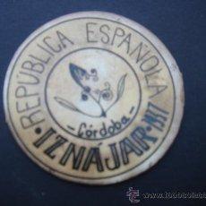 Reproducciones billetes y monedas: CARTÓN MONEDA LOCAL DE IZNÁJAR (CÓRDOBA) -TIMBRE MÓVIL-, CON SELLO 40 CTS II REPÚB. MBC+. 1937.. Lote 28135144