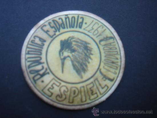 CARTÓN MONEDA LOCAL DE ESPIEL (CÓRDOBA) -TIMBRE MÓVIL-, CON SELLO 20 CTS II REPÚB. MBC+. 1937. (Numismática - Reproducciones)