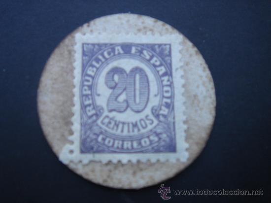 Reproducciones billetes y monedas: CARTÓN MONEDA LOCAL DE ESPIEL (CÓRDOBA) -TIMBRE MÓVIL-, CON SELLO 20 CTS DE LA II REP - Foto 2 - 28142715