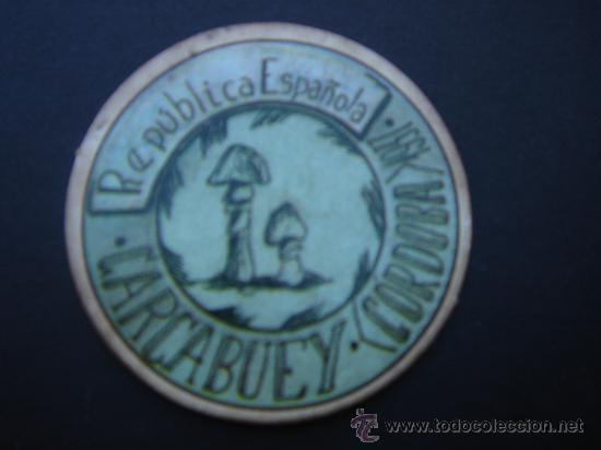 CARTÓN MONEDA LOCAL DE CARCABUEY (CÓRDOBA) -TIMBRE MÓVIL-, CON SELLO 25 CTS II REPÚB. MBC+. 1937. (Numismática - Reproducciones)