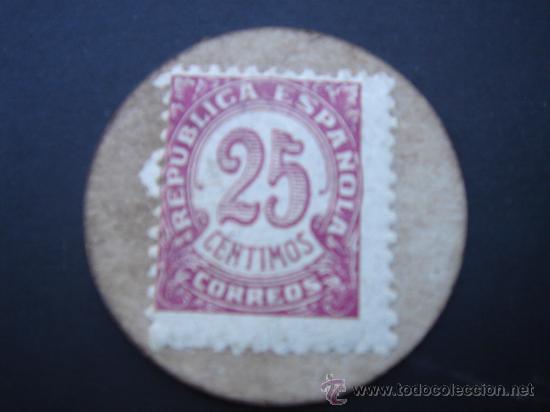 Reproducciones billetes y monedas: CARTÓN MONEDA LOCAL DE CARCABUEY (CÓRDOBA) -TIMBRE MÓVIL-, CON SELLO 25 CTS DE LA II REP - Foto 2 - 28146591