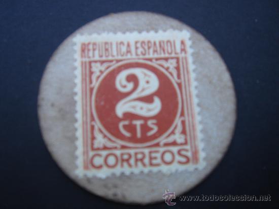 Reproducciones billetes y monedas: CARTÓN MONEDA LOCAL DE RUTE (CÓRDOBA) -TIMBRE MÓVIL-, CON SELLO 2 CTS DE LA II REP - Foto 2 - 28146647