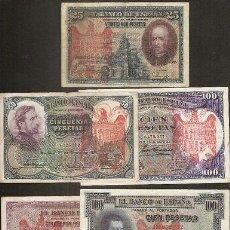 Reproducciones billetes y monedas: LOTE 5 BILLETES // RESELLO TAPON ROJO AGUILA IMPERIAL . Lote 91658248