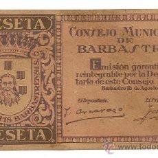 Reproducciones billetes y monedas: 1 PESETA DE BARBASTRO (CONSEJO MUNICIPAL) RARO EN CARTULINA. Lote 28710774