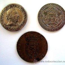 Reproducciones billetes y monedas: JETON . LOTE X 3 . RÉPLICAS DE MONEDAS ANTIGUAS. Lote 29518913