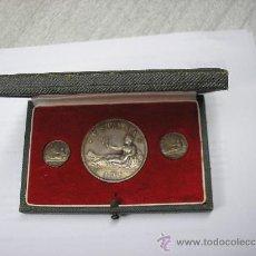 Reproducciones billetes y monedas: ESTUCHE CON 3 MONEDAS DE PLATA DE 1869 (2)+1 DE 1870. REPRODUCCIÓN. Lote 29596682