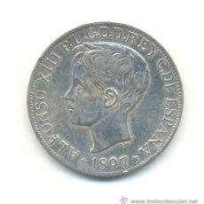 Reproducciones billetes y monedas: 35-BONITA COPIA DEL PESO DE FILIPINAS DE 1897 ALFONSO XIII . NO ES DE PLATA.. Lote 29613240