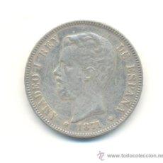 Reproducciones billetes y monedas: 36-BONITA COPIA DE LAS CINCO PESETAS DE AMADEO I AÑO 1871 ESTRELLAS 1873. NO ES DE PLATA.. Lote 29613414