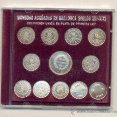 Reproducciones billetes y monedas: COLECCIÓN DE DOCE REPRODUCCIONES DE MONEDAS ACUÑADAS EN MALLORCA SIGLO XIII-XIX EN PLATA DE 925. Lote 30610485