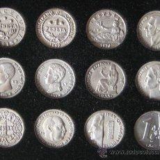Reproducciones billetes y monedas: DE LA PESETA AL EURO. COLECCIÓN DE 12 REPRODUCCIONES DE MONEDAS ANTIGUAS DE LA PESETA ESPAÑOLA.. Lote 31197550