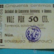 Reproducciones billetes y monedas: BILLETE LOCAL FACSÍMIL. ALICANTE. SINDICATO CAMAREROS HOTELEROS TORREVIEJA. 50 CÉNTIMOS 1937. . Lote 56203547