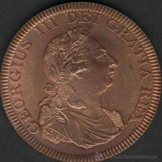 Reproducciones billetes y monedas: IRLANDA - REPRODUCCIÓN DE 1 PENIQUE DE 1805 CON FECHA DE 1808 - COBRE. Lote 32714306