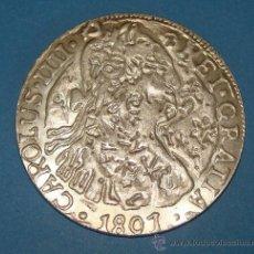 Reproducciones billetes y monedas: MONEDA ESPAÑOLA. 8 REALES DE 1801 DE CARLOS III DE PLATA. REPRODUCCIÓN EL MUNDO. . Lote 32991163