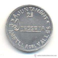 Reproducciones billetes y monedas: L' AMETLLA DEL VALLÉS BARCELONA BONITA COPIA DE LA RARA MONEDA DE UNA PESETA.. Lote 33286672