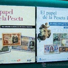 Reproducciones billetes y monedas: EL PAPEL DE LA PESETA - OBRA COMPLETA EN 2 TOMOS CON 80 REPRODUCCIONES DE BILLETES - 2002 - 1ª EDIC.. Lote 35232145