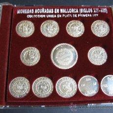 Reproducciones billetes y monedas: MONEDAS ACUÑADAS EN MALLORCA SIGLOS XIII-XIX.REPRODUCCIONES.PLATA 925.. Lote 76009746