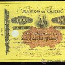 Reproducciones billetes y monedas: BILLETE DE EL PAPEL DE LA PESETA II - 1000 REALES DE VELLON, 1847-1856. Lote 105847094
