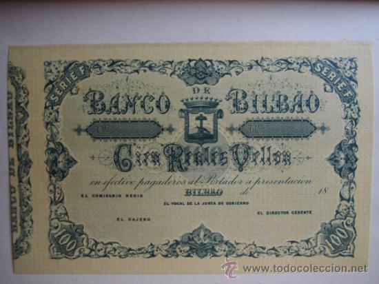 Reproducciones billetes y monedas: 5 FACSÍMILES BILLETES DEL BANCO DE BILBAO. EDITADOS EN EL CENTENARIO 1932. REALES DE VELLON. FOTOS - Foto 4 - 107176058