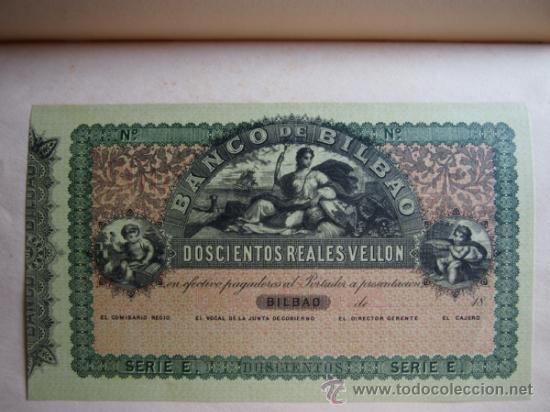 Reproducciones billetes y monedas: 5 FACSÍMILES BILLETES DEL BANCO DE BILBAO. EDITADOS EN EL CENTENARIO 1932. REALES DE VELLON. FOTOS - Foto 3 - 107176058