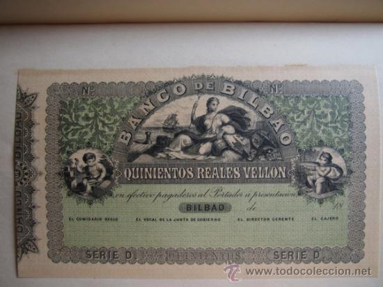 Reproducciones billetes y monedas: 5 FACSÍMILES BILLETES DEL BANCO DE BILBAO. EDITADOS EN EL CENTENARIO 1932. REALES DE VELLON. FOTOS - Foto 2 - 107176058
