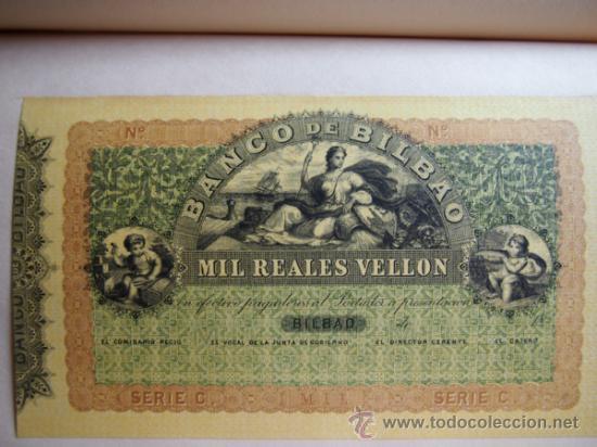 Reproducciones billetes y monedas: 5 FACSÍMILES BILLETES DEL BANCO DE BILBAO. EDITADOS EN EL CENTENARIO 1932. REALES DE VELLON. FOTOS - Foto 6 - 107176058