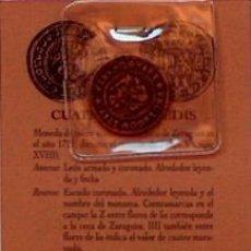 Reproducciones billetes y monedas: REPRODUCCION MONEDA CUATRO MARAVEDIES SIGLO XVIII, MONEDAS ARAGONESAS, ZARAGOZA. Lote 37981962