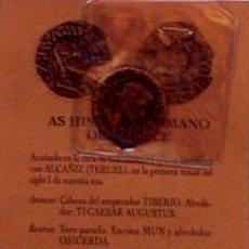 Reproducciones billetes y monedas: REPRODUCCION MONEDA AS HSIPANORROMANO DE BRONCE SIGLO I, MONEDAS ARAGONESAS, ALCAÑIZ. Lote 45116903