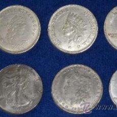 Reproducciones billetes y monedas: LOTE DE 8 REPLÍCAS DE DOLARES DE PLATA HISTÓRICOS. Lote 53358833