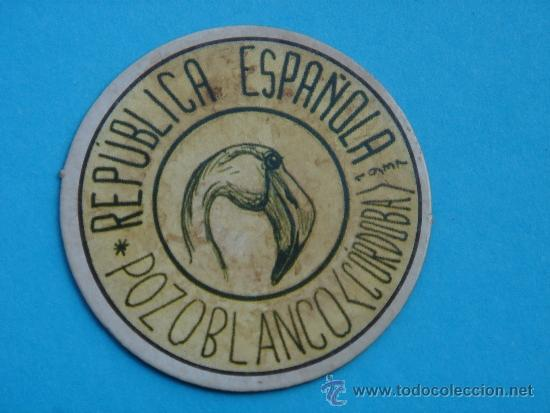 CARTÓN MONEDA LOCAL DE POZOBLANCO (CÓRDOBA) -TIMBRE MÓVIL-, CON SELLO 10 CTS II REPÚB. MBC+. 1937. (Numismática - Reproducciones)