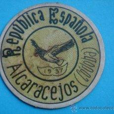 Reproducciones billetes y monedas: CARTÓN MONEDA LOCAL ALCARACEJOS (CÓRDOBA) -TIMBRE MÓVIL-, CON SELLO 10 CTS II REPÚB. MBC+. 1937. . Lote 38384117