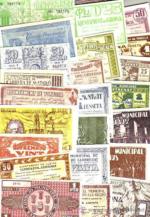 LOTE DE 40 BILLETES LOCALES FASCIMIL DE 1937. TODOS DIFERENTES (Numismática - Reproducciones)