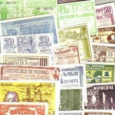 Reproducciones billetes y monedas: LOTE DE 40 BILLETES LOCALES FASCIMIL DE 1937. TODOS DIFERENTES. VER RELACIÓN. Lote 252554145
