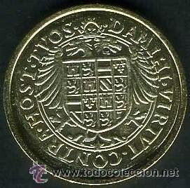 Reproducciones billetes y monedas: Reproducción de moneda Real de oro de Carlos I (sin fecha). Colección El País. - Foto 2 - 38975480