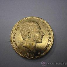 Reproducciones billetes y monedas: COPIA DE ORO DE 25 PESETAS DE 1881 18-81.REY ALFONSO XII. Lote 39214809