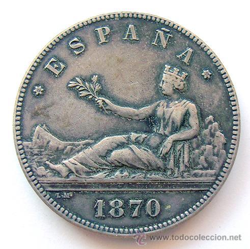 LA MONEDA FALSA . GOBIERNO PROVISIONAL . 5 PESETAS 1870 , RÉPLICA (Numismática - Reproducciones)