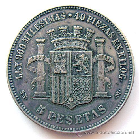 Reproducciones billetes y monedas: LA MONEDA FALSA . GOBIERNO PROVISIONAL . 5 PESETAS 1870 , RÉPLICA - Foto 2 - 154889245