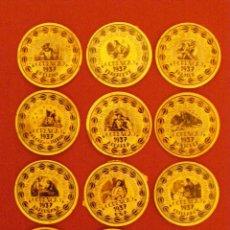 Reproducciones billetes y monedas: CARTÓN MONEDA DE USO PROVISIONAL - CUENCA - 1937 - LOTE DE 12 LOCALIDADES -. Lote 40390142