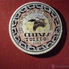 Reproducciones billetes y monedas: CARTÓN MONEDA DE USO PROVISIONAL - CUERVAS -TOLEDO - 1937 - 40 CÉNTIMOS - REPUBLICA ESPAÑOLA. Lote 40419352