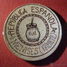 Reproducciones billetes y monedas: CARTÓN MONEDA DE USO PROVISIONAL - MENISES - VALENCIA - 1937 -60 CÉNTIMOS- REPUBLICA ESPAÑOLA. Lote 40420471
