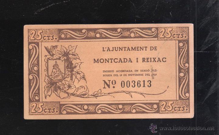 BILLETE DE 25 CENTIMOS. AJUNTAMENT DE MONTCADA I REIXAC. PLANCHA (Numismática - Reproducciones)