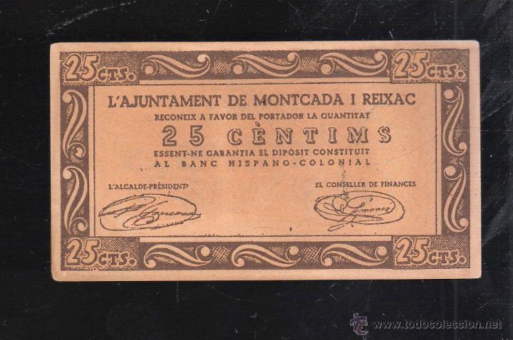 Reproducciones billetes y monedas: BILLETE DE 25 CENTIMOS. AJUNTAMENT DE MONTCADA I REIXAC. PLANCHA - Foto 2 - 40442617