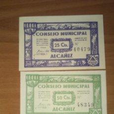 Reproducciones billetes y monedas: ALCAÑIZ: LOTE 25, 50 CÉNTIMOS, 1 PESETA SIN CIRCULAR. Lote 148311086